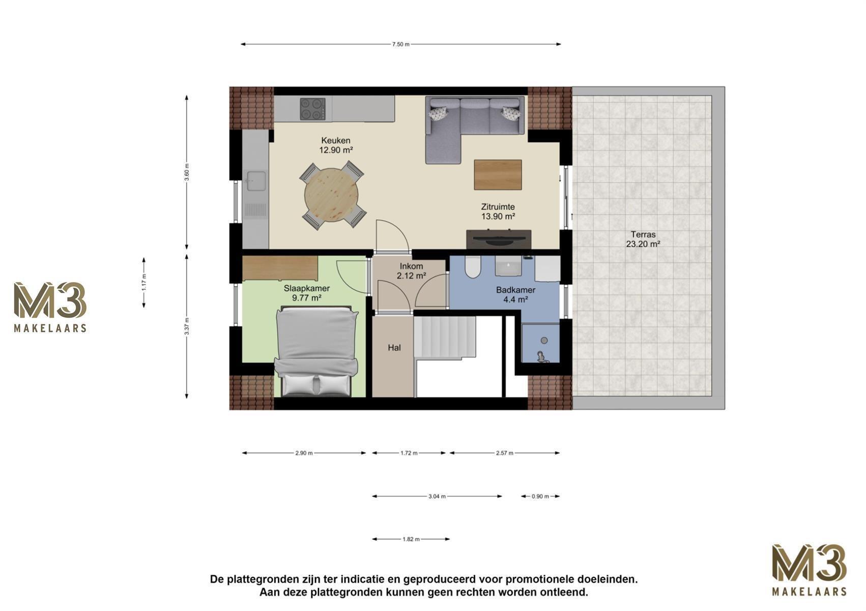 Trendy 1-slaapkamerappartement met ruim terras.